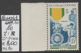 """1952 -  SM """"Französische Militär Medaille - Fr. Comores"""" -  ** Postfrisch - Siehe Scan (stampw. 16) - Ungebraucht"""