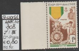 """1952 -  SM """"Französische Militär Medaille - Fr. Indien"""" -  ** Postfrisch - Siehe Scan (stampw. 308) - 1950-59 Republik"""