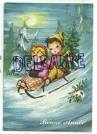 """Bonne Année. Couple D""""enfants Sur Une Luge, Sapin, Houx 1983 - Illustrateurs & Photographes"""