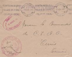 LETTRE FM ECOLE D APPLICATION DU MATERIEL FONTAINEBLEAU 7/12/50 POUR COMMANDANT DU C.T.A.C TUNIS - Postmark Collection (Covers)