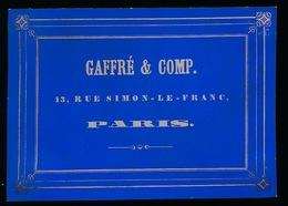 PARIS CARTE PORCELAINE  8X6 CM GAFFRE & COMP. 13 RUE SIMON LE FRANC  PARIS - France