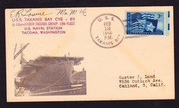 """US Navy, USS""""TAKANIS BAY"""" (CVE-89)1946,""""PHOTO CACHET"""" !! LOW PRICE !! VERRY RARE !! Look Scan !! 13.11-38 - Bateaux"""