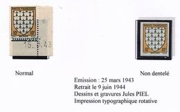 FRANCE - Blason / Armoiries De Bretagne - 10 F 1943 - Type, NON DENTELÉ, Coin Daté, Signature Tronquée EL Pour Piel - Unused Stamps