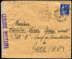 """FRANCHISE MILITAIRE N°10 Obl Càd """"CAMP D'ARGELES SUR MER 28/2/403 S/pli Pour Le CAMP DE GURS Avec Censure - TB - Franchise Militaire (timbres)"""