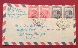 POSTA AEREA PAR AVION VENEZUELA  - U.S.A. ENVELOPE  FROM  CARACAS  TO NEW YORK  THE  1/10/55 - Costa Rica