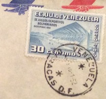 SPORT III JUEGOS DEPORTIVOS BOLIVARIANOS 1951 VENEZUELA  - U.S.A. ENVELOPE  FROM  CARACAS  TO SPRINGFIELD - Costa Rica