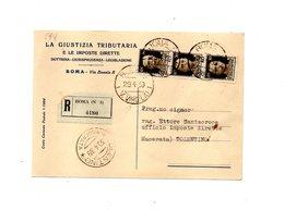 LAB594 - REGNO , Raccomandata Da Roma Del 1939  La Giustizia Tributaria - 1900-44 Vittorio Emanuele III