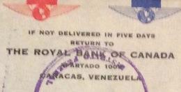 POSTA AEREA PAR AVION VENEZUELA  - U.S.A. THE ROYAL BANK OF CANADA  TO  NEW YORK THE  9/6/1947 - Costa Rica