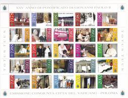 Itália -Vaticano -Emissão Conjunta -citta Del Vaticano -Polonia 25 Selos Viagens Do Papa - Errors & Oddities
