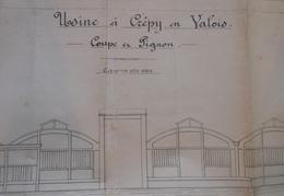 Plan De Construction D'une Usine à Crépy En Valois - Coupe En Pignon - Échelle 001 PM - Architecture