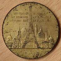 Médaille Souvenir De Mon Ascension Au Sommet De La Tour Eiffel 1889 - Professionnels / De Société