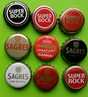 9 Chapas,beer Botlles Caps Beer Portugal - Beer
