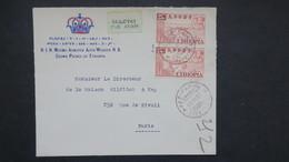 Ethiopie Lettre En Tete Asfa Wossen Prince 1954 Pour Paris , Cover From Prince Of Ethiopia To France 1954 - Ethiopie
