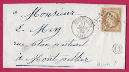 N°13 PC 2502 MONTPELLIER HERAULT BOITE RURALE O PALAVAS 1862 - Marcofilie (Brieven)