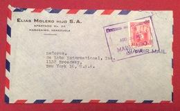 POSTA AEREA PAR AVION VENEZUELA  - U.S.A.  ENVELOPE  FROM MARACAIBO  TO NEW YORK THE 20/8/48 - Costa Rica