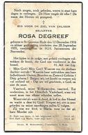 Carte Décès Rosa Degreef St-Genesius-Rode. 12 Décembre 1916 - 28 Septembre 1935. - Décès