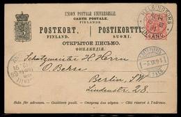 FINLAND. 1891. Helsingfors - Germany. 10p Stat Card. Via Russia / St Petersburg. - Finland