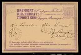 FINLAND. 1879. Iaakimvaara - Borg. 10p Lilac Early Stat Card. VF Used. - Finland