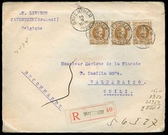BELGIUM. 1925. Saventhen - CHILE. Reg Multifkd Env. Small Type Cds. F-VF. - Belgium