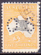 Australia 1929 SG #O118 5sh Used Official Wmk Mult.Crowns Over A Faults At Right Corners CV £45 - Service