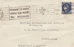 FRANCE.  LETTRE DEVANT POUR L'ARGENTINE. 1,75F. 1938. PARIS - 1921-1960: Moderne