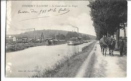 CPA  De  COMMERCY  (55)  -   Chevaux Tirant Une Péniche Sur Le Canal Devant Les Forges  // TBE  (Manque à Gauche) - Commercy