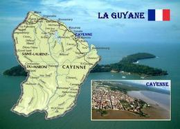 French Guiana Map Guyane New Postcard - Guyane