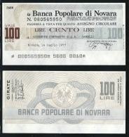 ITALIA 1977 - Mini Assegno - Banca Popolare Di Novara -  N.°  37 (b) - L. 100 - FDS - [10] Assegni E Miniassegni
