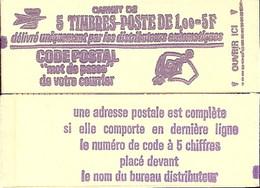 """CARNET 1892-C 1 Marianne De Béquet """" CODE POSTAL"""" Daté 2/12/76 Fermé. Parfait état Bas Prix RARE - Freimarke"""