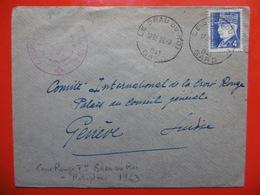 LETTRE CACHET LE GRAU DU ROI VIA SUISSE GENEVE 1943 - Postmark Collection (Covers)