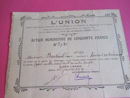 Action Nominative De 50 Francs/L'UNION/ Soc Civ Ouvrière Coopérative/AMIENS/Département De La Somme/ 1929        ACT238 - Banque & Assurance