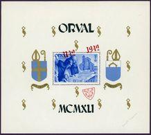 Belgie Belgique 1942 - Bloc Orval 20A Avec Surcharge Rouge De Travers NEUF Charnières - Blocs 1924-1960