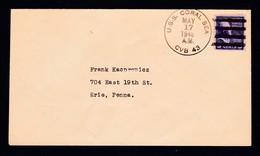 "US Navy,USS""CORAL SEA""(CVB-43) 1946,clear Postmark !! LOW PRICE !! RARE !! Look Scan !!13.11-23 - Boten"