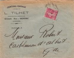FRANCE.  LETTRE. 1923. CENTRAL-GARAGE, L.TILHET GENSAC GIRONDE - 1921-1960: Periodo Moderno