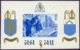Belgie Belgique 1942 - Bloc Orval 21 Avec Surcharge Bleue Renversée NEUF Charnières - Blocs 1924-1960