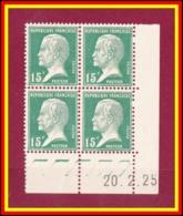 FRANCE 171** - Pasteur 15c Vert  - Bloc De 4 - Coin Daté 20.2.25 - Cote 25 € - ....-1929