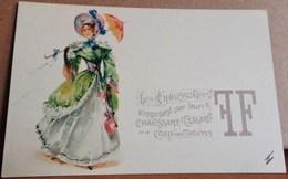 Cpa ART NOUVEAU JEUNE FEMME BELLE EPOQUE. Publicité Pour Chaussures . WOMAN With UMBRELLA  Early Pc Advert For Shoes - Femmes