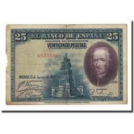 Billet, Espagne, 25 Pesetas, 1928-08-28, KM:74b, B - 1-2-5-25 Pesetas