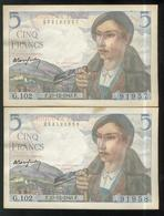 Lot De 2 Billets 5 Francs Berger 23-12-1943 Numéros Consécutifs TTB+ - 1871-1952 Anciens Francs Circulés Au XXème
