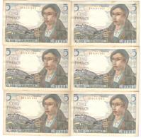 Lot De 6 Billets 5 Francs Berger 23-12-1943 Numéros Consécutifs TTB+ - 1871-1952 Circulated During XXth