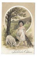 Carte Gaufrée.. Fröhliche Ostern ( Pâques)... ENFANT, BREBIS, MOUTON... Cachet Militaire Suisse - Easter