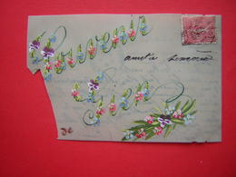 CPA SORTE DE PLASTIQUE RHODOÏD FANTAISIE SOUVENIR GIEN   VOYAGEE 1907 TIMBRE - Cartes Postales