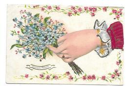 CARTE GAUFREE.. Joyeuses Pâques... MAIN, Bouquet De MYOSOTIS, PAILLETTES - Easter