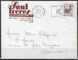 Automation Courrier - Expérimentation Du Tri, Au Dos 2 O Pointillés - Lettre De Paris RP 1963 Pour Bayeux Calvados - Marcofilie (Brieven)