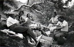 Photo Originale Famille & Pique Nique En 1936, Bouteilles De Vin Rouge & Panier D'Osier - Personnes Anonymes