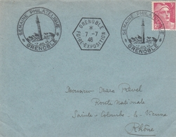DOUBLE OBLIT. FOIRE EXPO - GRENOBLE 7.7.46 - Postmark Collection (Covers)