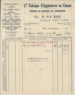 VICHY G FAURE FABRIQUE D AGGLOMERES EN CIMENT BACS LAVOIRS BASSINS MOELLONS A MR SCHMITD VICHY ANNEE 1933 - France