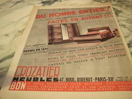 ANCIENNE PUBLICITE MEUBLE CROZATIER 1939 - Publicité