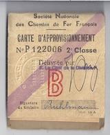CARTE D'APPROVISIONNEMENT N°P122006 2è Classe- Sété NATIONALE DES CHEMINS DE FER FRANCAIS -de FEGERSHEIM à STRASBOURG 19 - Unclassified