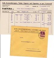 Rechnung Leuenberger ,Lotzwil, Tabak, Cigarren Und Cigaretten En Gros, Mit Kuvert 1923 - Suisse